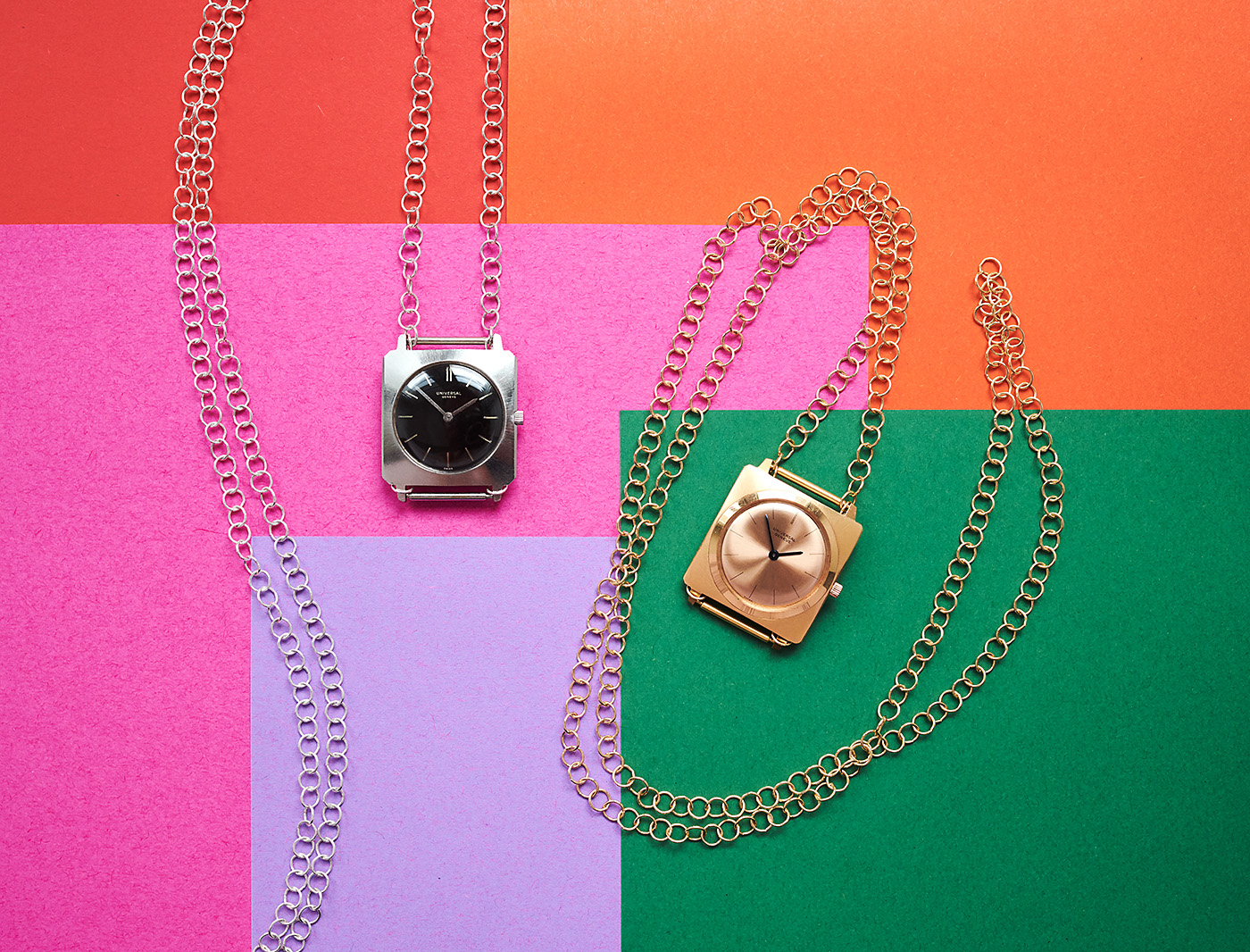 2x universal geneve watch-necklace
